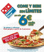 dominos buffet comida y bebida 6 euros